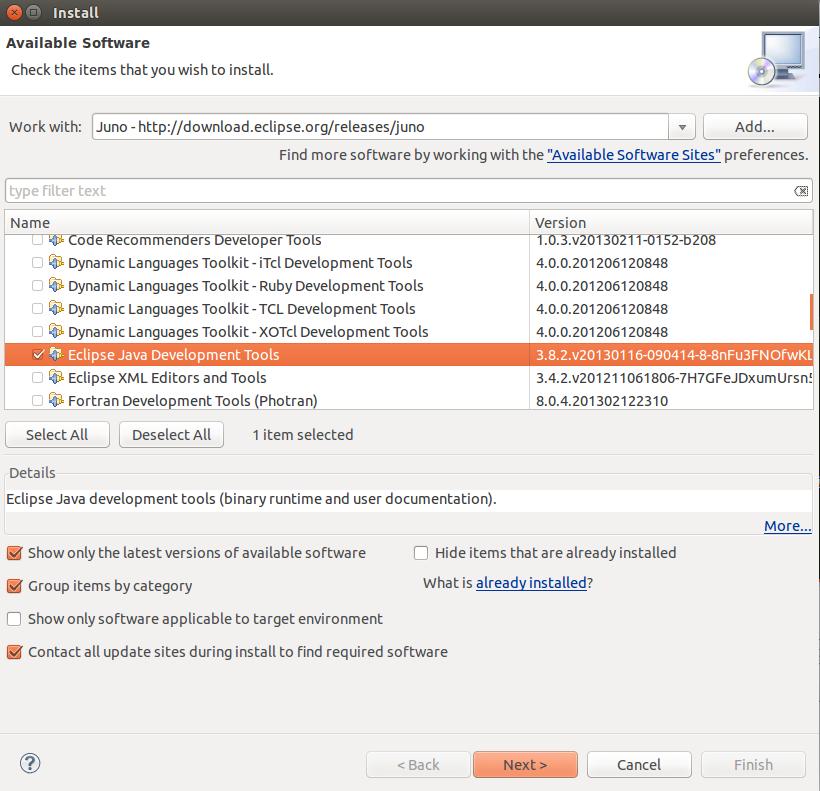 Install Eclipse Java Development Tools